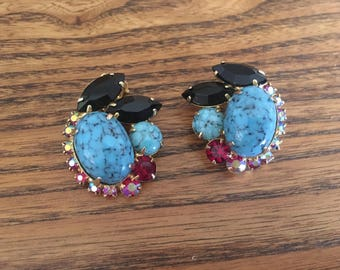 Juliana D&E Turquoise Blue Matrix with Black, Red and Red AB Rhinestone Earrings 1140