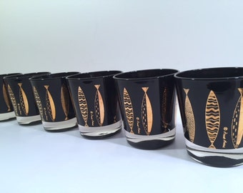 Fred Press Signed Mid-Century Black & 22-Karat Gold Fish Whiskey Glasses (Set of 6)