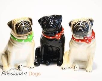Pug dog ceramic figurine handmade statue