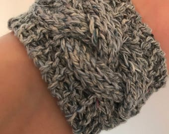 Recycled silk & cotton hand knitted cuff bracelet, cable knit cuff, knitted bracelet, womens accessories.