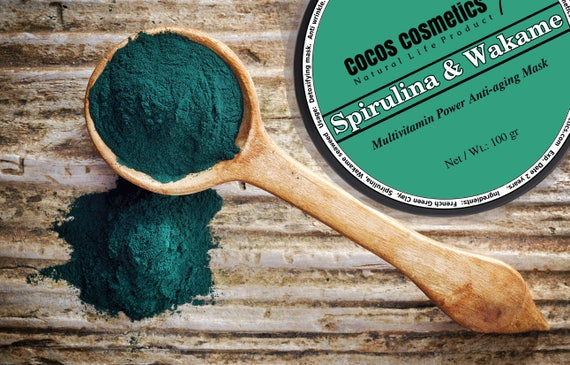 Spirulina green clay - Wakame and spirulina Detox antioxidant clay mask- antiaging