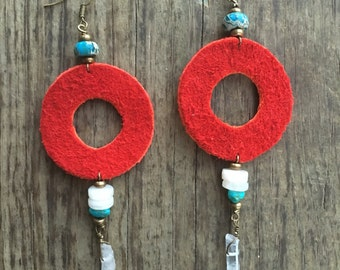 Earthy leather red donut earrings/ fishman donut/ phish jewelry