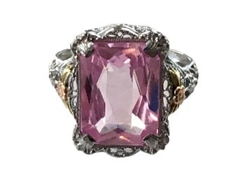 Edwardian White Gold Filigree Pink Synthetic Spinel Ring