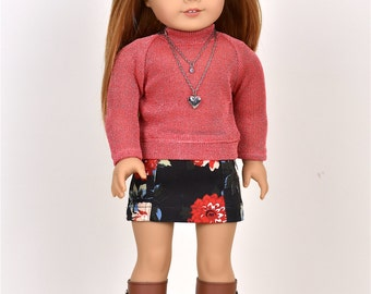 Turtle Neck  Sweater 18 inch doll clothes Color Coral/Silver