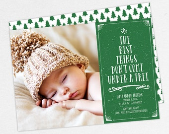 Christmas Birth Announcements, The Best Things Don't Come Under a Tree Cards, Christmas Baby Announcements, Printable