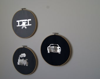 Planes, Trains & Automobiles Trio - Silver Foil - Nursery Decor