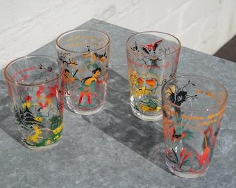 Vintage 70' lot of 4  La Fontaine fables child glasses