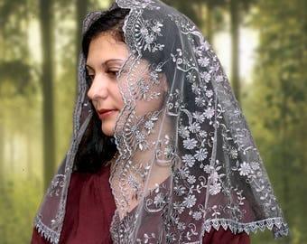 Gray veil religious head coverings orthodox veils catholic veil church head scarf orthodox lace wrap catholic accessories mantilla veil