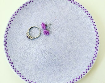 Hand Painted Jewelry Plate (Periwinkle/Dark Purple)