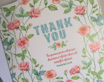 Wild Rose Thank You card -  Proverbs 11:25 jw gift greetings card