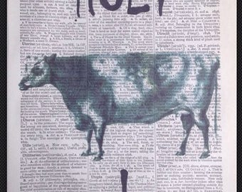 Cow Print Vintage Dictionary Page Wall Art Picture Farm Animal Quirky Funky Home Decor