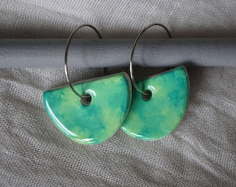 Hand Painted and Illustrated Earrings - All The Greens