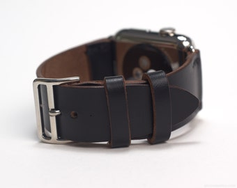 Apple Watch Leather Strap with Official Apple Adapters (42mm) in Black Horween Chromexcel Strip Leather