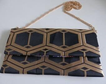 021 Black & Gold HAND MADE Japanese Vintage Kimono Obi Bag