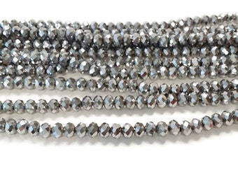 100 Silver Metallic 2x3mm faceted glass beads, Suncatcher Beads, Spacer Bead, rondelle beads, R33