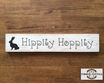"""Hippity Hop Sign, Easter Sign, Rustic Easter Sign, Farmhouse Easter Sign, Wood Easter Sign, 18""""W x 3.5""""H"""
