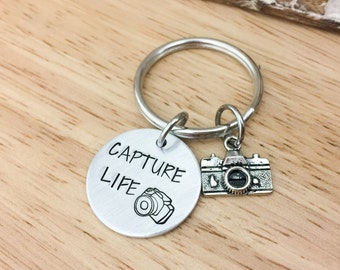 Capture Life-Stamped Keychain-Photographer Keychain-Photographer Gift-Camera Keychain-Hand Stamped Keychain-Keychain and Lanyards-Photo Grad