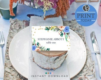Floral Wedding Place Cards, Instant download Place Cards, Floral Name Tent Cards, Seating Cards, Blue Floral Place Cards, Edit yourself