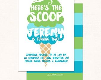 Ice Cream Invitation / Ice Cream Birthday Invitation / Summer Birthday Invitation / Here's The Scoop Invitation / Digital / Ice Cream Party