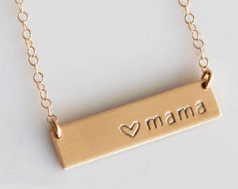 Mothers Day Jewelry From Daughter/Husband/Mama Bar Necklace /Personalized Bar Necklace / Mothers Day Gift /New Mom Gift/