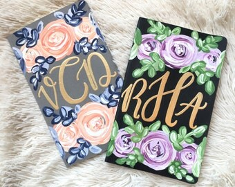 Monogrammed handpainted notebooks // gold monogram // monogrammed // journal // personalized journal