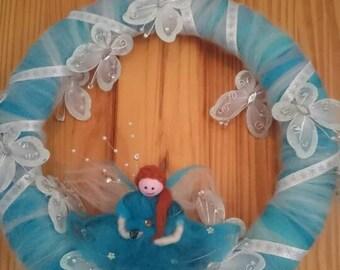 Butterfly door Hanger. Fairy door Hanger. Handmade merino wool decoration. LED room decoration. Butterflies and Angels.