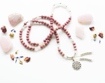 Rhodonite mala, 108 mala, Bohemian mala, Semi-precious stones mala, Pendant mala necklace, Yoga necklace, Mala necklace,Prayer mala necklace