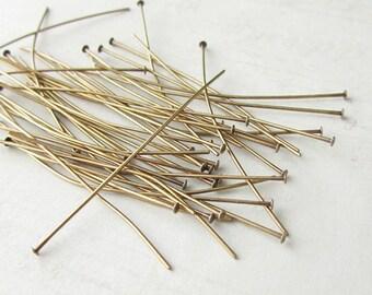 100pcs Brass Headpins, 1.5 inches, 24 gauge, Flat Headpins, 1.5 inch Antique Brass Headpins, Antique Gold Plated Brass, 24ga, Jewelry Making