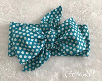 Aqua Polka Dot Headwrap, polka dot head wrap,  Fabric Head Wrap, Baby headwrap, Newborn Head Wraps, Toddler Headwraps, blue headband