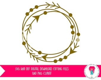 Arrow Frame, Tribal Circle, SVG / DXF Cutting Files For Cricut Explore / Silhouette Cameo & PNG Clipart Download, Commercial Use Ok