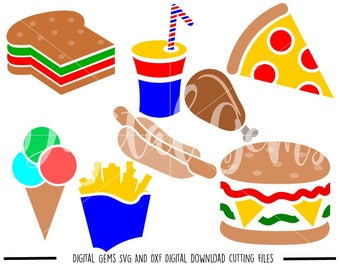 Fast Food, Burger, Drink, Fries, Ice Cream, Pizza, svg / dxf / eps / png files. Download. Compatible with Cricut and Silhouette machines.