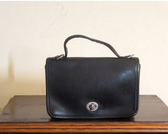 Football Days Sale Coach Casino Bag In Black Leather With Nickel Hardware Style No 9924 - Made In U.S.A. -Strap Missing