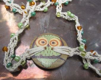 Owl Beaded Crochet Necklace