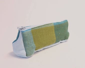 Pencil Case - Blue Green Check