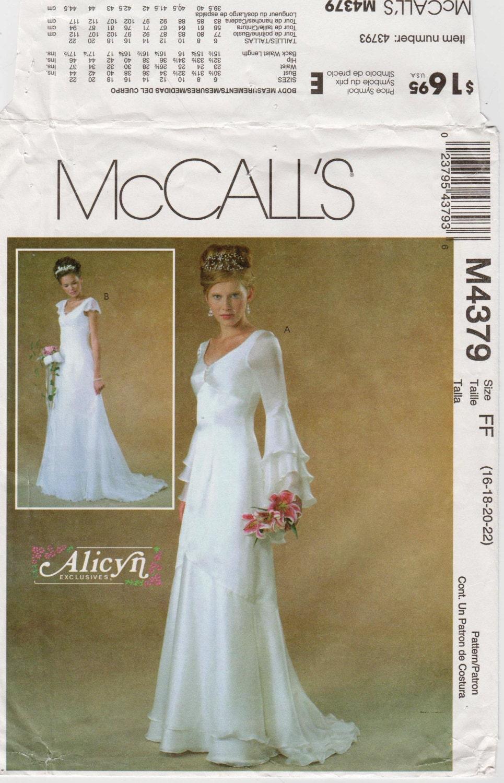 Fantasy Wedding Dress Pattern McCALLS M4379 bust 38-44\