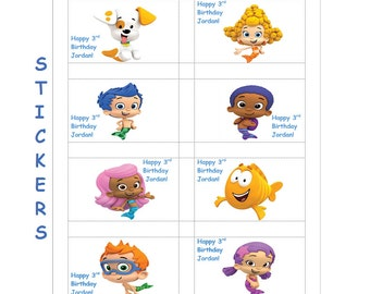 8 Personalized Bubble Guppies Stickers, Custom Made