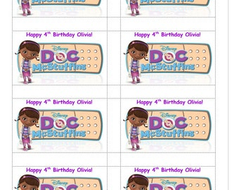 8 PERSONALIZED Doc McStuffins Stickers, Birthday Party Favors, decals, goody bag labels, Custom Made
