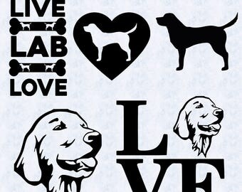 labrador svg, love labrador svg, labrador head svg, live love lab, dog svg, dxf, clipart, vector, printable, files for silhouette, cricut