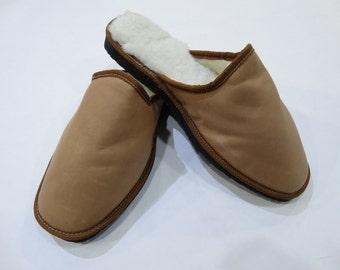 Men Slippers,Leather Slippers,Handmade Slippers,Fur Slippers,Warm Slippers, Real Fur Slippers,Gift for Him,Light Brown Slippers F445