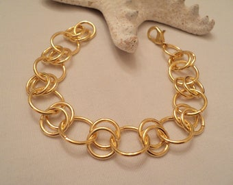 Gold Link Bracelet, Gold Chain Bracelet, Gold Chainmaille, Chainmaille Bracelet, Gold Bracelet, Wedding, Bridesmaids, Boho Bracelet