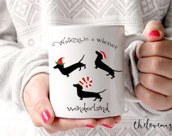 Funny Coffee Mug, Daschund Gift, Daschund Mug, Wiener Wonderland, Christmas Gift