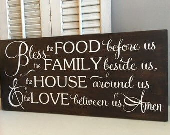 Bless the food before us etsy - Plaque decorative cuisine ...