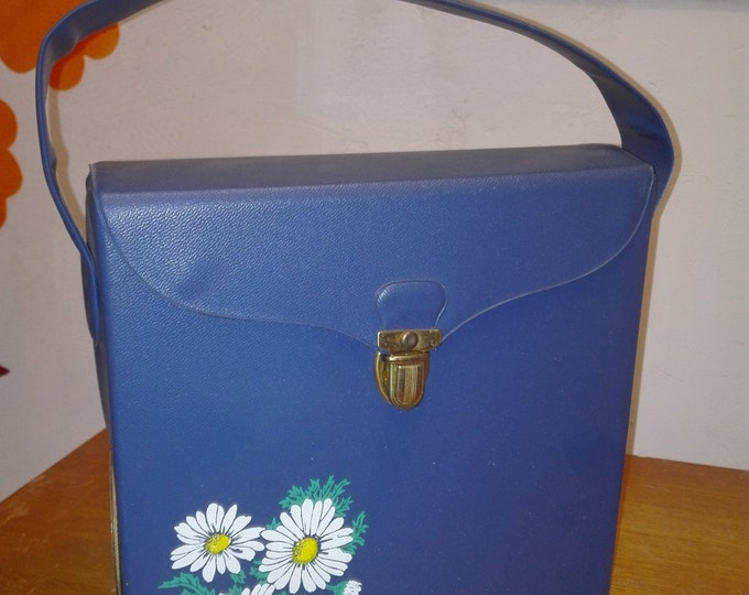 Blue vintage single records case, Blue with flowers