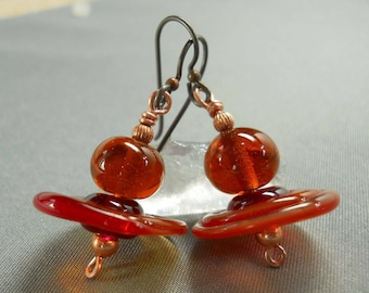 Orange dangle earrings with copper wire and Niobium ear wires