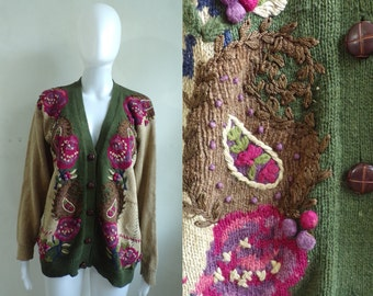 50%offJune27-30 floral paisley cardigan sweater size medium, 80s cotton ramie embroidered sweater, womens sweater jumper brown pink green