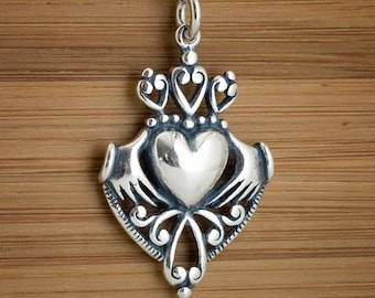 Irish Claddagh Celtic Heart Pendant or Earrings -STERLING SILVER- Chain Optional