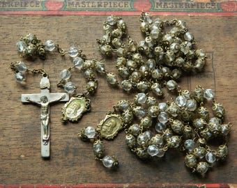 Old Vintage Rosary Beads Crucifix Parts Pieces Catholic Rosary Capped Beads Old Centerpieces For Repurpose Use Harvest FREE SHIP