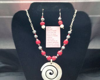 Red Coral necklace with earrings