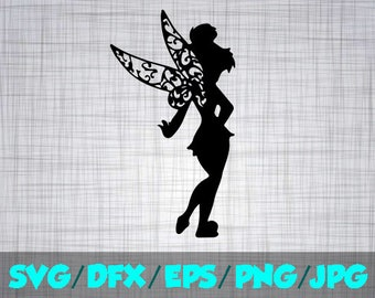Tinkerbell SVG Disney Iron On Decal Cutting File / Clipart in Svg, Eps, Dxf, Png, and Jpeg for Cricut & Silhouette Princess Peter Pan