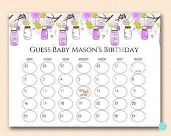 Purple Baby Prediction Calendar, baby prediction calendar, baby due date calendar, guess due date, due date calendar, due date sign TLC475